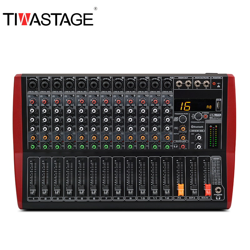 Tiwastage 12 channel audio mixer with dsp effect