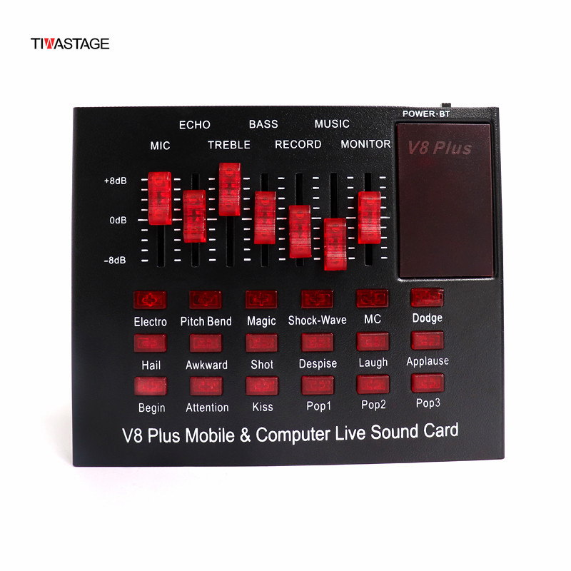 V8 Plus Audio USB External Sound Card Webcast stremer Live Broadcast for PC Phone Computer