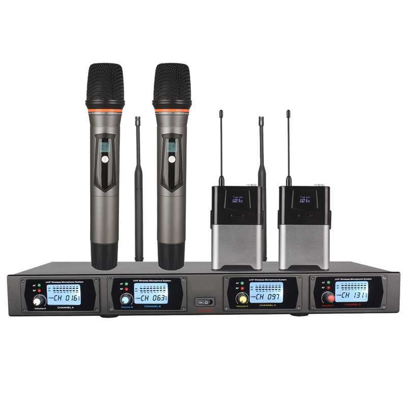 4 Channel Wireless Karaoke Microphone TW-48 with Handheld Microphone