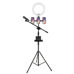 Microphone tripod stand with 26cm ring light for livestream youtube video recording tiktok stand