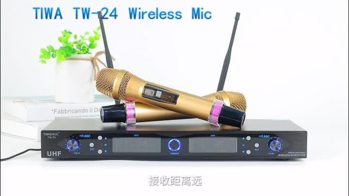 TIWA 2 channels Wireless Microphone system for teaching public Speaking with 2 Handhelds