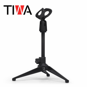 Portable Microphone tripod foldable stand Holder with Adjustable Mic clip